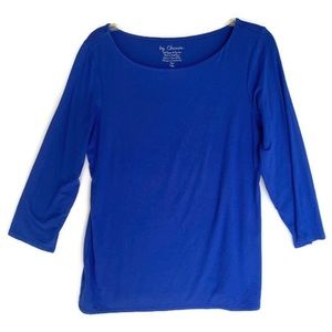 Chico's Size 1 Top Royal Blue Stretch Scoop Neck